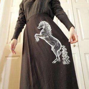 Vintage Aquascutum black wool midi horse skirt
